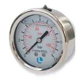 PRESS GAUGE D.63 0-12 BAR 1/4 POS INOX GLI
