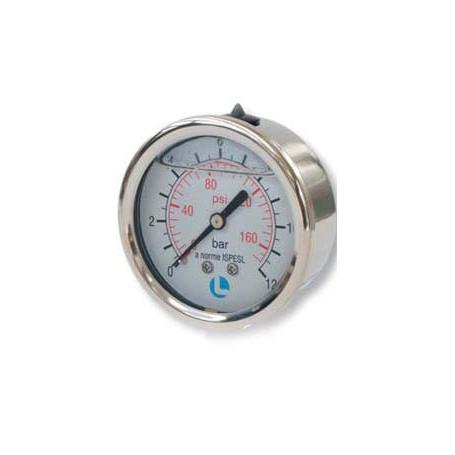 PRESS GAUGE D.50 0-12 BAR 1/4 POS INOX GLI