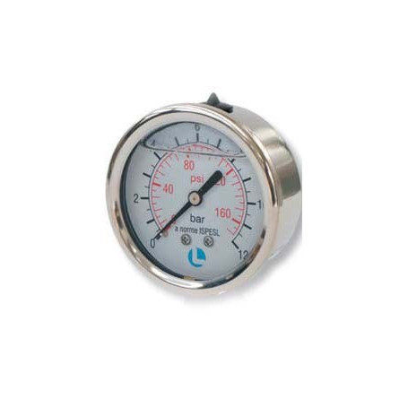 PRESS GAUGE D.50 0-6 BAR 1/4 POS INOX GLIC