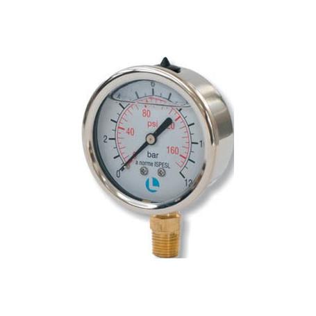 MANOMETRO D.100 0-25 BAR 1/2 ATTACCO RADIALE INOX GLICERINA